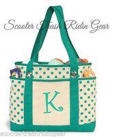 Personalized teal polka dot tote shopping diaper beach bag monogram baby anchor