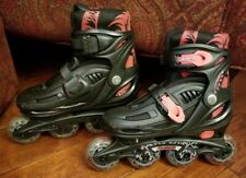 Avigo Adjustable Inline Skates Youth Sz 1-4 Black/Pink Euc