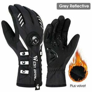 Adjustable Self-locking Cycling Gloves Warm Winter Reflective MTB Bike Gloves