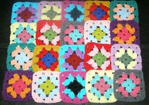 20 Crochet Granny Squares Blocks for Afghan Multicolored