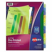Avery Plastic Preprinted Tab Dividers, 8.5 x 11 Inches, A-Z 12 Tab,