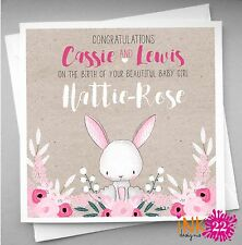 Personalised handmade Card For New Baby, Vintage Floral Bunny, Boy Girl, Cute,