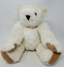 "Vermont Teddy Bear 16"" white Blue eyes Jointed Teddy Plush"