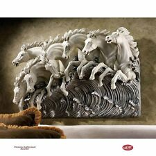 """Mystical Magical Neptune's Horses of the Sea 22"""" Handcrafted Wall Sculpture New"""