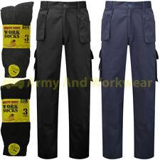 Work Trouser Mens Multi Tool Pocket Triple Stitched Pants Workwear FREE Socks