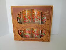 Vintage ORIG BOX SET Anchor Hocking 8 Tumblers Orange Red Retro Flowers Power