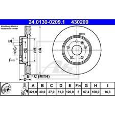 SATZ 2x ATE Bremsscheibe CHEVROLET MALIBU (V300)  CHEVROLET TRAX  OPEL INSIGNIA