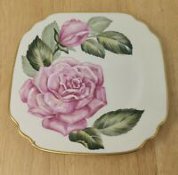 "Onondaga Syracuse China 8"" Square Plate The Rose with Gold Tone Trim Z0"