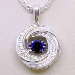 """Colors in Rhythm 18"""" 925 Sterling Silver Blue & White Sapphire Pendant Necklace"""