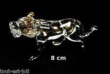 magnifique lion en verre avec dorures, miniature de collection, leeuw   G13-62