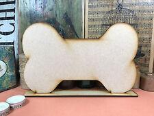 WOODEN DOG BONE FREESTANDING SHAPE 30cm Stand Table Decoration Wood Blackboard