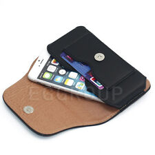 """Magnetic Flip Leather Card Case Cover Pouch Bag Belt-Clip Holster for 4.7""""-5.5"""""""