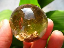 "92.8g RARE NATURAL ""Rutilated & stone inside Stone"" quartz crystal sphere ball"