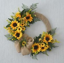 "Sunflower Door Wreath Wall Hanging Artificial Flowers Handmade 16"" Hessian"