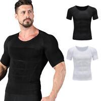 Men's Slimming Body Shaper Waist Trainer Vest Gym Tops Belly Compression T-Shirt