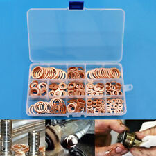 280pcs Solid Copper Crush Washers Assorted Seal Flat Ring Hardware Kit 12 Sizes