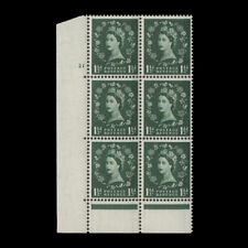Great Britain 1957 (MNH) 1½d Green cyl 21 block, graphite, St Edward's crown