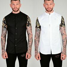 Sik Silk Mens New Short Sleeve Cotton/Polyester Designer Grandad Collared Shirt