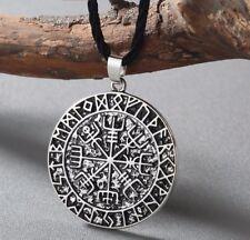 Vegvisir Antique Silver Viking Icelandic Compass Rune Pull Cord Pendant Necklace