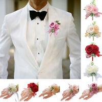 Wedding Party Bride Bridesmaid Groom Wrist Corsage Hand Flower Boutonniere