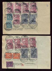 INFLA: 2 PAKETKARTEN ab ARLESBERG 1922 nach ZÜRICH, GUTE MISCHFRANKATUREN