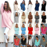 Womens Oversized Loose Knitted Sweater Winter Warm Jumper Pullover Knitwear Tops