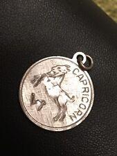Zodiac Astrology Charm Pendant Vintage Sterling Silver Capricorn Goat