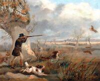 """1825- Henry T Alken, DUCK HUNTING, Bird Dog, GUN, antique, 14""""x11"""" Art Print"""