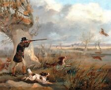 "1825- Henry T Alken, DUCK HUNTING, Bird Dog,  14""x11"" Art Print"