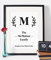 Personalised Family Surname Names Print Unframed A4 Present Gift Home Wall Art