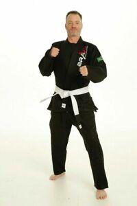 Black Bjj Gi- Mens Fightwear Brazilian JiuJitsu Karate Gi Uniform by Bravo