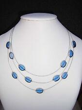 Collier 3 reihige Kette 2 farbig hellblau Ovale Elemente Stahlseil
