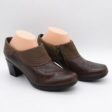 Women's Zip Boots 9 M Clarks Brown Leather 62863