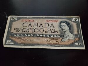 1954 - Canadian One Hundred Dollar Banknote, 100$