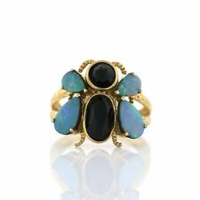 Sterling Silver Gold Blue Opal & Onyx Flying Beetle Critter Ring Size 6