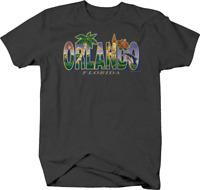 Orlando Florida Palm Tree Dolphin Castle Flowers Sunshine Beach T shirt for men