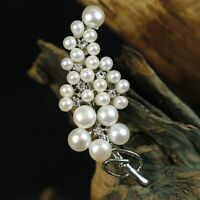 Brooch Silver Cultured Pearl White Grape Of Grape Cz Vintage TZ11