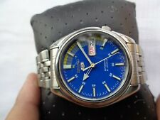 RARE VINTAGE SS SEIKO 5 BLUE DIAL MILITARY STYLE GENTS AUTOMATIC WRISTWATCH