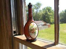 RARE AMBER LABEL UNDER GLASS HAIR TONIC BARBER BOTTLE W/ ORIGINAL BRASS STOPPER