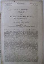 Government Doc. Western Interests Public Finance Roads Evansville Indiana 1850