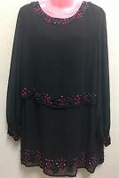 Ex M&Co Black Bijoux Glam Ladies Party Dress Top Beaded  RRP £49.00