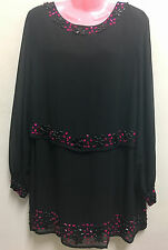 EX M&Co Black Bijoux Glam Ladies Party Dress Top Beaded 16 Black