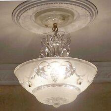 474 Vintage 40s Ceiling Light Lamp Fixture Chandelier white 1 of 2  3Light
