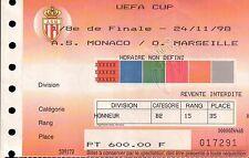 BILLET PARTIE DE CALCIUM 24/11/98 A.S. MONACO / O. MARSEILLE UEFA CUP C8-532
