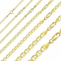 "10K Solid Yellow Gold Mariner Necklace Chain 2-6mm 16-30"" -Anchor Link Men Women"