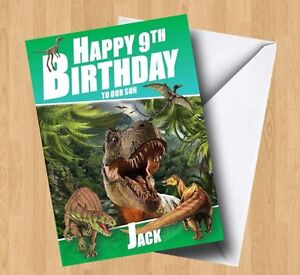 Personalised Dinosaur (T-Rex/Son/Brother/Grandson/Daughter) Birthday Card