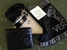 VERSACE MENS Wallet Belt and Underwear set 100% genuine leather value over $290