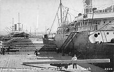 Aberdeen Washington~Men @ Work Loading Lumber on Ship~Crane Lifting Board~c1910