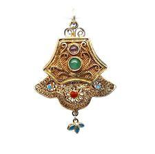 Antique Chinese JADE Amethyst Gold Gilt Silver Filigree Enamel 2 sided Pendant