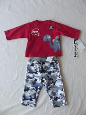 "Mini Bean ""Dinosaur"" Baby Boy Red/Grey 2PC Set 0-3 Months NWT B5221"